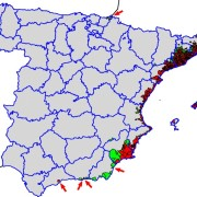 Known distribution of Aedes albopictus in Spain in 2014. Red: recorded in municipality; Green: not recorded; Gray: not studied. The arrows mark small positives isolates municipalities