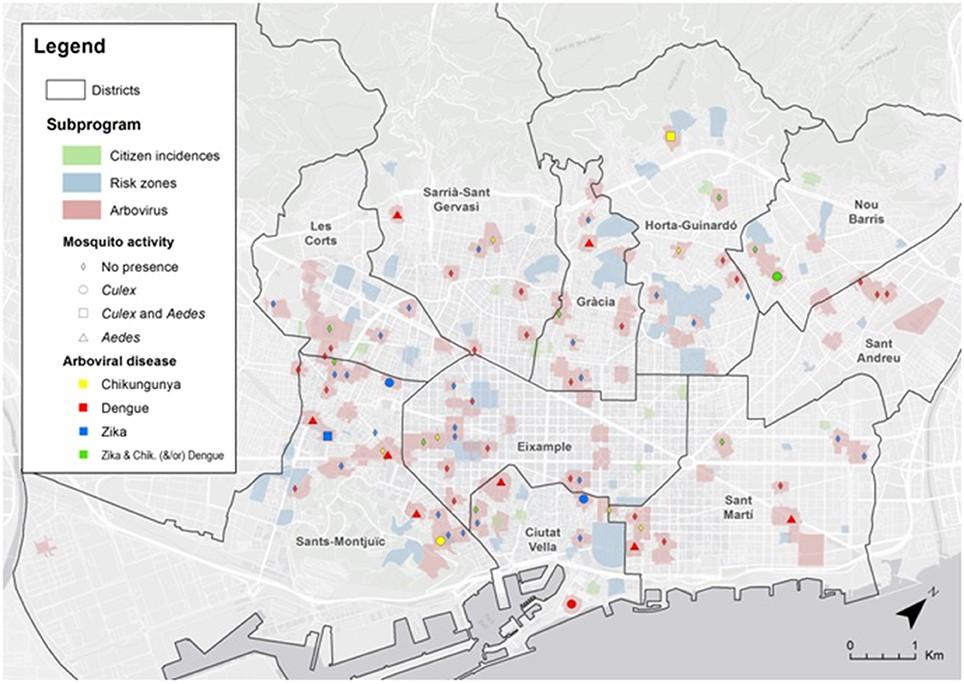 """Mapa de la ciudad de Barcelona con la localización de los diferentes casos de arboviosis y los resultados de las inspecciones entomológicas. """"Risk zonas"""" (azul): inspecciones mensuales. """"Citizen incidencia"""" (verde): avisos hechos por la ciudadanía que se han hecho durante el estudio de 2016."""