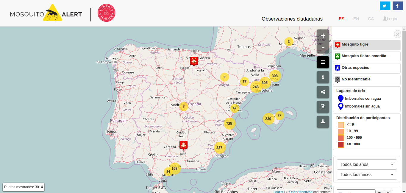 El mapa interactivo de Mosquito Alert.