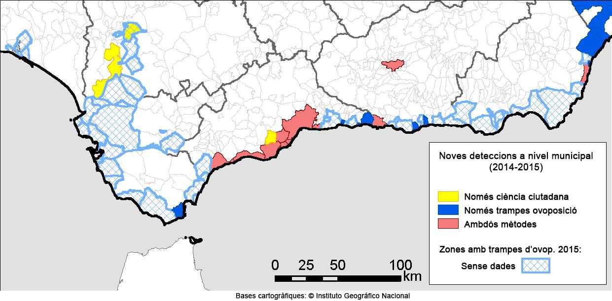 Mapa de les noves troballes de mosquit tigre que es van fer a Andalusia el 2014 i el 2015, segons si van ser detectats per la ciutadania, per les trampes dels experts o bé per ambdós mètodes.