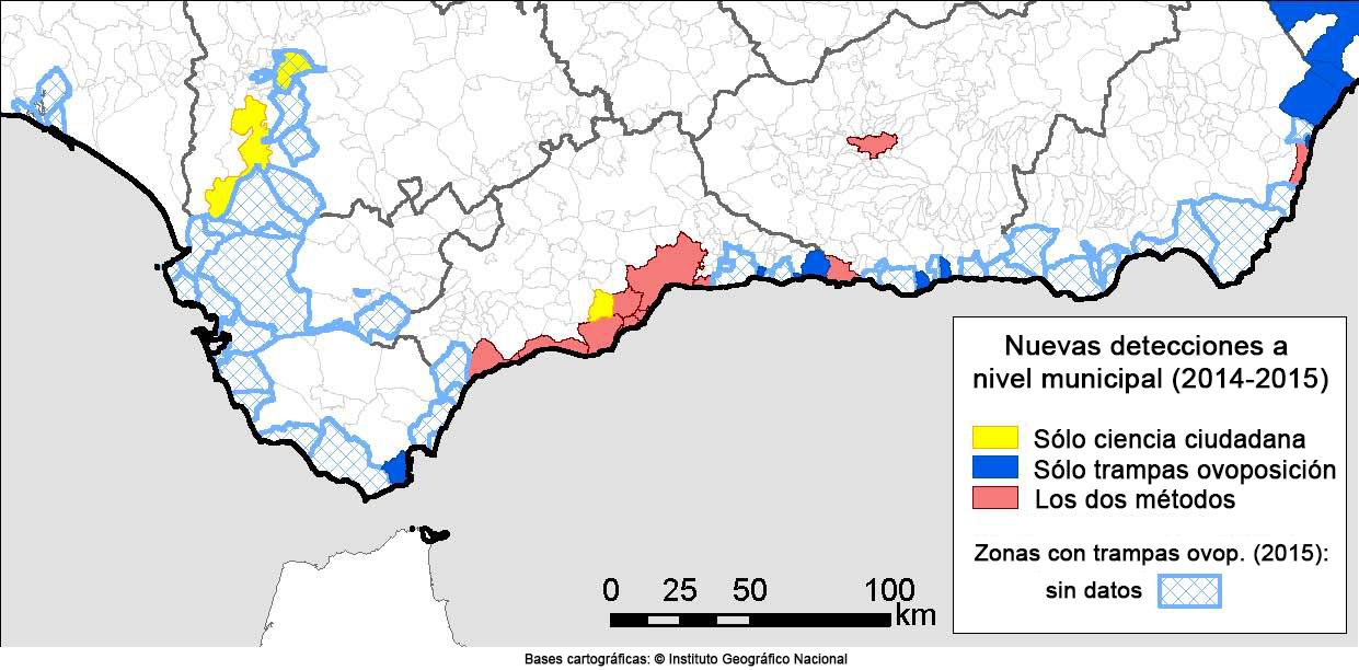 Mapa de las nuevas detecciones de mosquito tigre que hubo en Andalucía en 2014 y 2015, según si fueron detectados por la ciudadanía, por las trampas de los expertos o bien por ambos métodos.