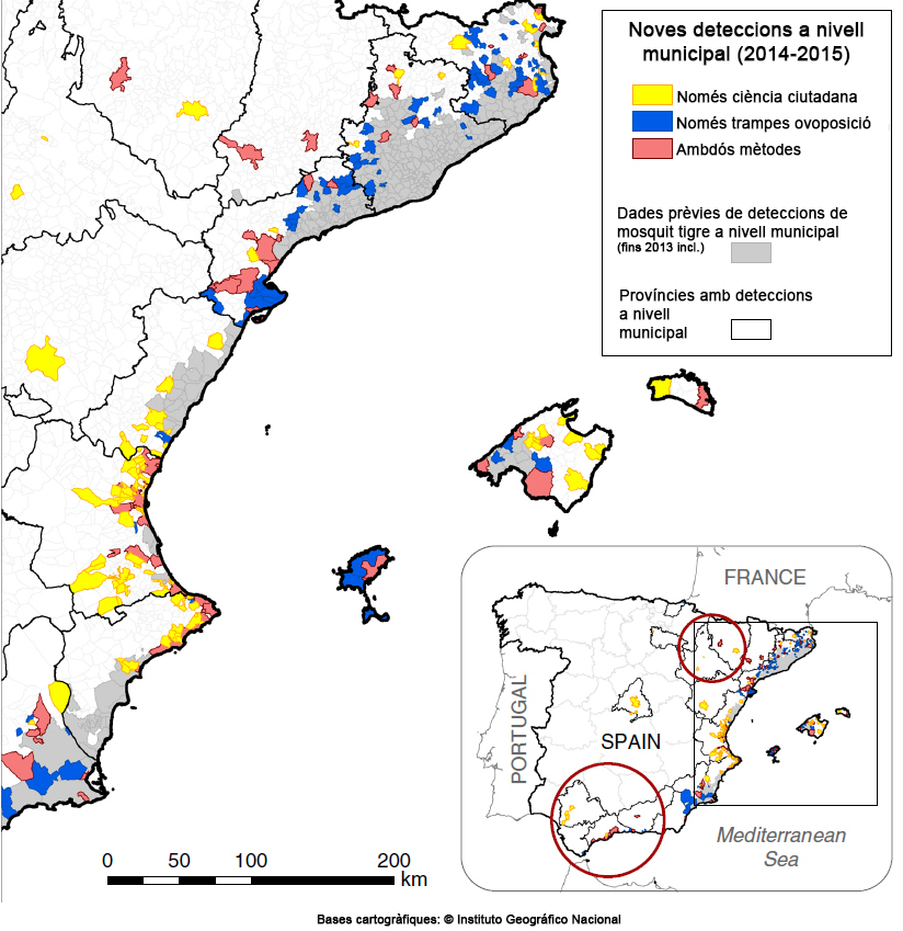 2)Mapa de les noves troballes de mosquit tigre que es van fer a Espanya el 2014 i el 2015, segons si van ser detectats per la ciutadania, per les trampes dels experts o bé per ambdós mètodes.
