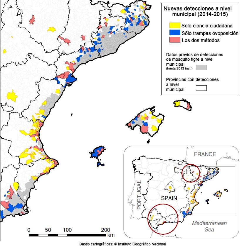 Mapa de los nuevos hallazgos de mosquito tigre que hubo en España en 2014 y 2015, según si fueron detectados por la ciudadanía, por las trampas de los expertos o bien por ambos métodos. Fuente: Palmet et al. (2017) CC-BY