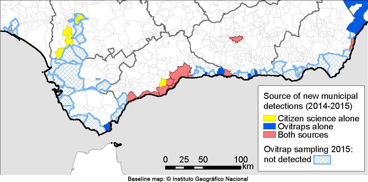 Map of new tiger mosquito detections in the Spanish region of Andalucia during 2014 and 2015, depending on citizen science source, ovitraps or both. Credits: Palmer et al. (2017) CC-BY