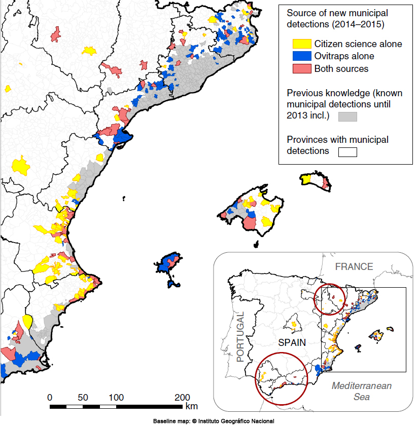 Map of new tiger mosquito detections in Spain during 2014 and 2015, depending on citizen science source, ovitraps or both. Credits: Palmer et al. (2017) CC-BY