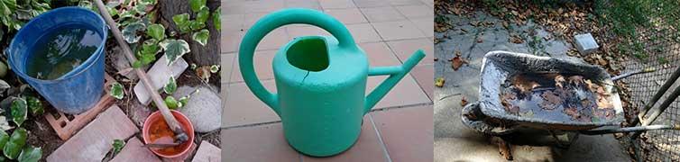 Evita el agua acumulada en el material de jardinería para eliminar el mosquito tigre de tu jardín.