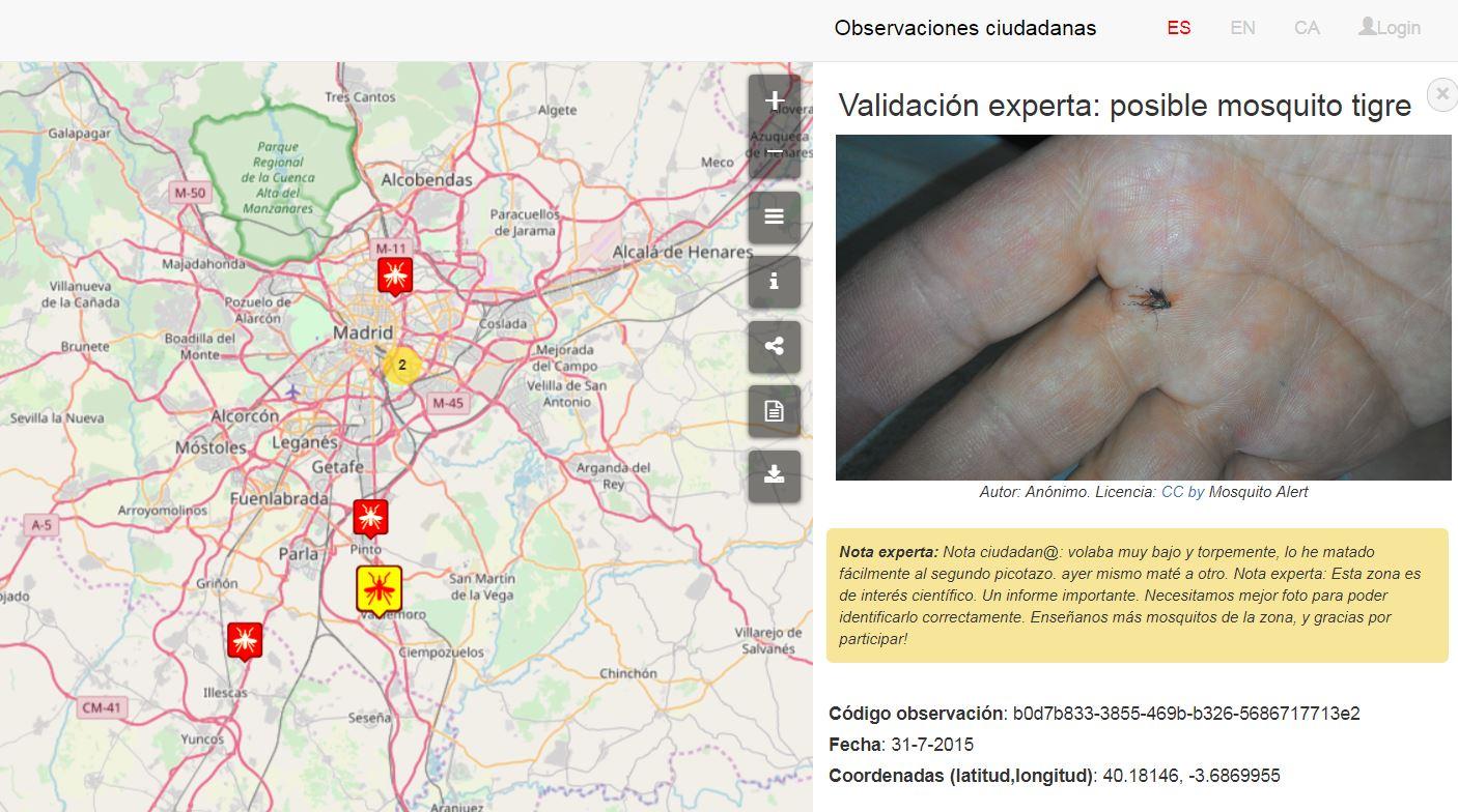 Observaciones ciudadanas registradas en la zona de Madrid.