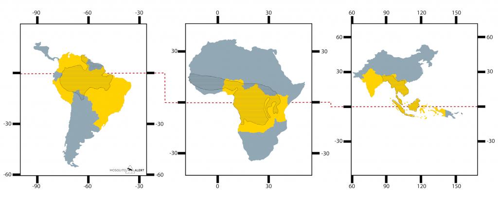 Distribución malaria Africa America asia