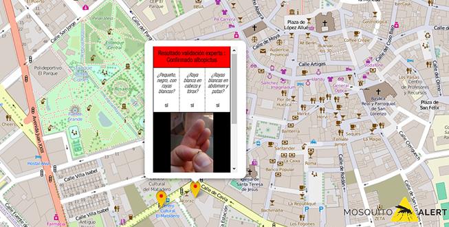 Mapa de la zona donde se envió el aviso de mosquito tigre en 2015.