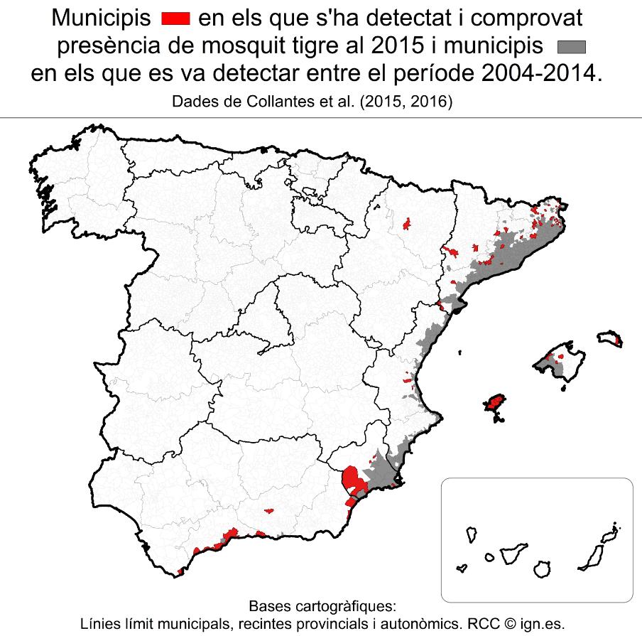 Mapa de municipis afectats pel mosquit tigre, en vermell els afegits el 2015.