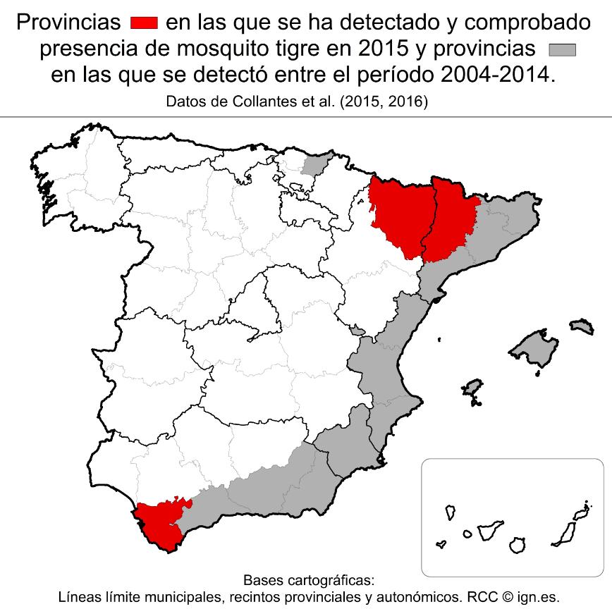 Distribución del mosquito tigre en España que muestra las nuevas provincias con el insecto.
