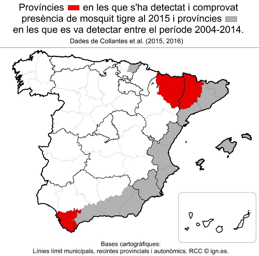 Mapa de les províncies afectades pel mosquit tigre, en vermell les incorporades el 2015.