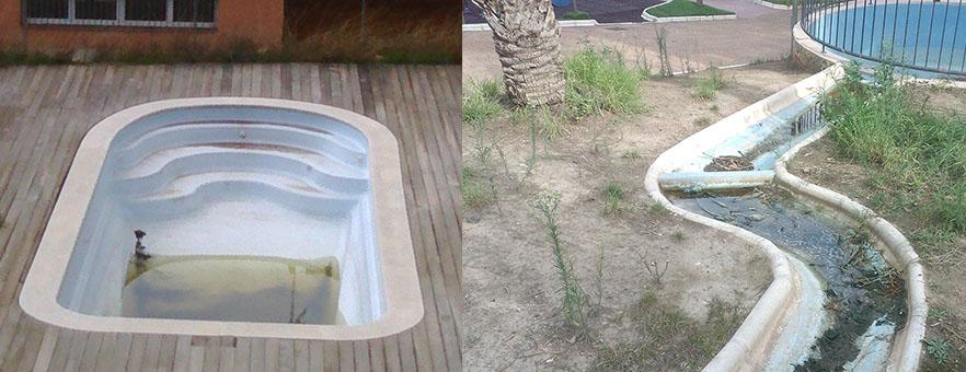 Piscines buides amb tolls d'aigua.